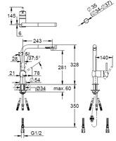 【GROHE JP3693 00】シングルレバーキッチン混合栓(ヘッド引出タイプ)
