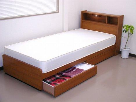 tmz-a094】■日本製フレーム■棚照明引出付ベッド(マット付)