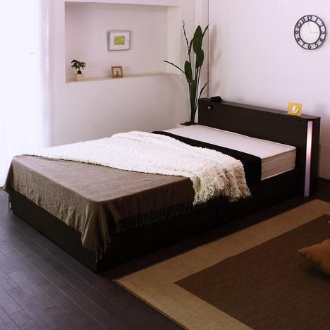 tmz-a271】■日本製フレーム■棚W照明コンセント引出付デザインベッド(マット付)