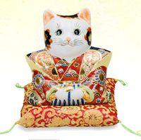 九谷焼 6号福助猫・盛 福助人形 置物 激安 通販