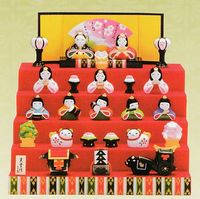 コンパクトな陶器の雛人形 全品特価