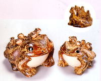 信楽焼(しがらき焼)六蛙(むかえる)8号(子5匹)置物
