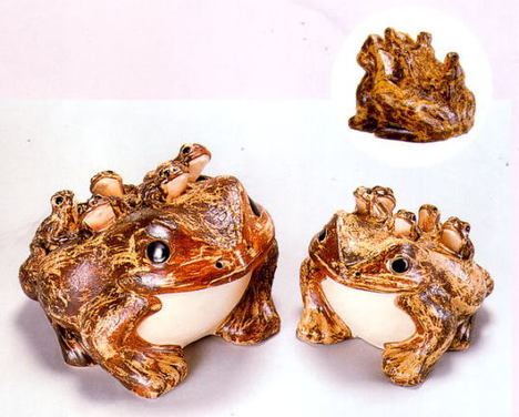 信楽焼(しがらき焼)六蛙(むかえる)10号(子5匹)置物