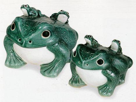 楽焼(しがらき焼)青蛙15号(子2匹)置物