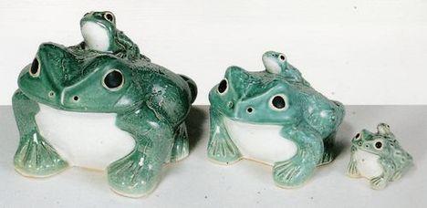 信楽焼(しがらき焼)青蛙3号(子1匹)置物 激安