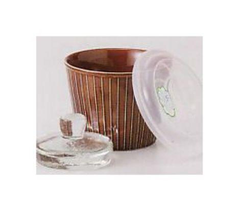 V12.陶器 彫アメ釉 蓋付漬物容器(重石付き・蓋付)【かめ 甕 瓶 漬物】
