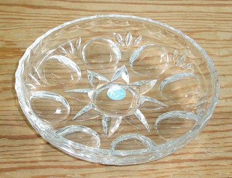 RG14032302.昭和レトロ アデリア ルックガラス丸皿【ガラス食器】