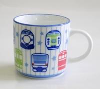 電車柄鉄道陶器子ども用マグカップ