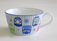 電車柄鉄道陶器子ども用スープカップ