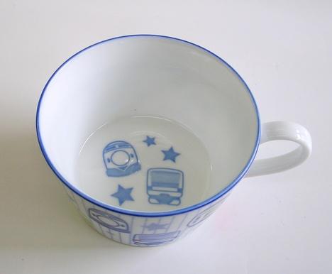鉄道・電車柄 陶器のスープカップ