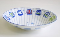 電車柄陶器楕円形皿