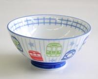 電車柄鉄道陶器子ども用ごはん茶碗