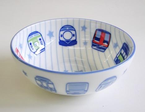 電車柄鉄道陶器子ども用小鉢