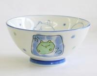 陶器 蛙柄こども和食器マグカップ