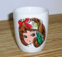 昭和レトロ 少女と犬の手描き湯呑み茶碗