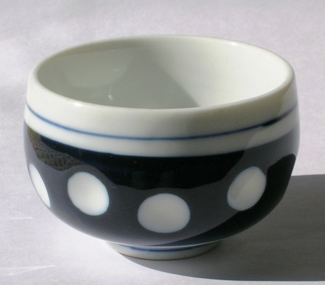 昭和レトロ 陶器食器 水玉湯呑み茶碗