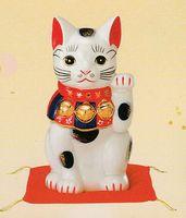 薬師窯 染錦招き猫(9 号)左手 特価 通販