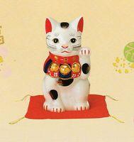 薬師窯 染錦招き猫(7 号)左手 特価 通販