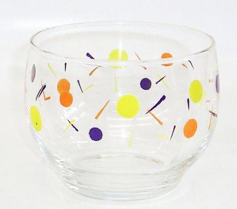昭和レトロ 黄色水玉 冷茶グラス コップ タンブラー