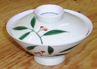 昭和レトロ 南天 蓋付き飯茶碗