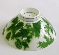 昭和レトロ 有田焼 グリーンアザミ飯茶碗