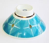 昭和レトロ 青 飯茶碗
