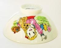 昭和レトロ 少女と犬 陶器の子ども用飯茶碗