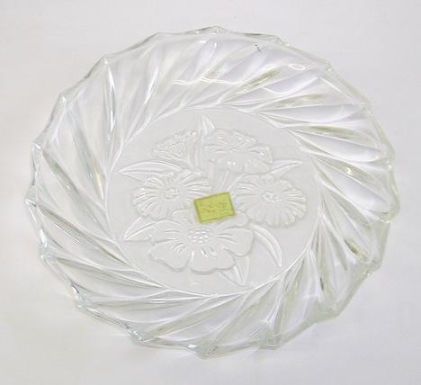 RG18070403.昭和レトロ カメイガラス 花染ガラス中皿【花柄 フルーツ皿 ガラス食器】