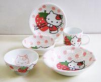 ハローキティ いちごキティ 染付陶器食器セット 特価 通販