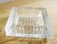 昭和レトロ 東洋ガラス 格子柄 ガラス灰皿