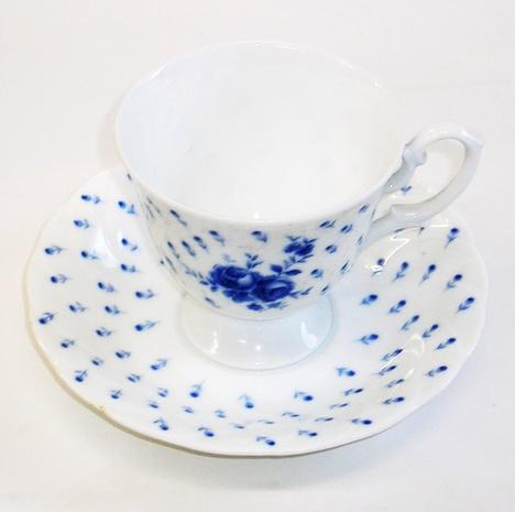昭和レトロ HOYA CHINA ブルー薔薇コーヒーカップ