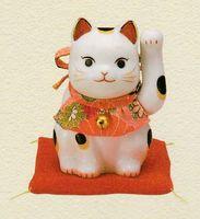薬師窯 彩絵ふく福招き猫 左手 特価 在庫処分 特価