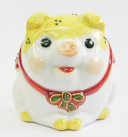 九谷焼 豚 黄釉 縁起置物 販売