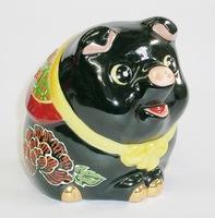 九谷焼 豚 黒塗り 縁起置物 販売
