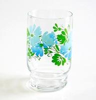 昭和レトロ 段付きタンブラー ブルー草花柄 通販