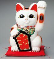 常滑焼 梅月 大入り猫 白左手招き猫 特価 通販