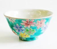 九谷焼 文吉窯 花の舞 飯碗 通販