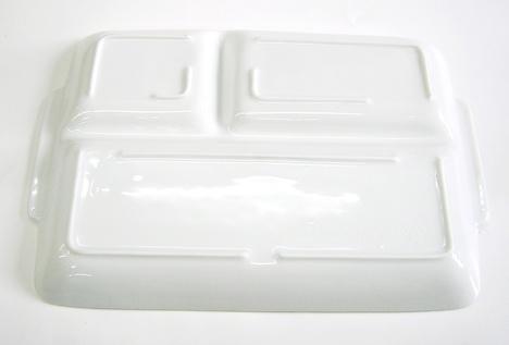 大き目の磁器製UK角仕切皿 薄くて軽い!取手付き(白)長さ28.5センチ【通販/特価/ランチプレート/長方形/仕切り皿/角形/ホワイト】山口陶器店AZHUKKS