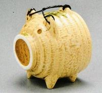 萬古焼 蚊遣り豚 黄色 特価で通販
