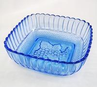 昭和レトロ ガラス 瑠璃色 角中鉢 サラダボウル