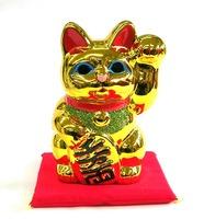 梅月 招き猫貯金箱 座布団付き 特価 通販 金色 開店祝い