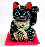 梅月 黒左手招き猫 厄除け 特価 通販
