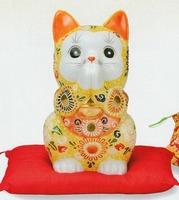 九谷焼 7号招き猫 盛(左手上げ) 特価 通販