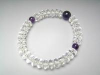 念珠ブレス 水晶平玉紫水晶