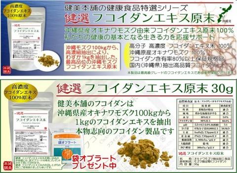 元気に生き抜く応援食品!高品位 沖縄産オキナワモズク由来 高濃度 高分子フコイダン原末 30g なんと100kgのモズクから1kgを抽出のハイスペック フコイダン製品