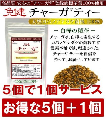 【5個+1個セット】 高品質・安心のチャーガ登録商標茶葉100% ロシア産 免健 チャーガティー -白樺の精茶- カバノアナタケ 100g
