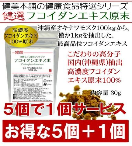 【5個+1個セット】 元気に生き抜く応援食品!高品位 沖縄産オキナワモズク由来 高濃度 高分子フコイダン原末 30g 100kgのモズクから1kgを抽出のハイスペック