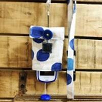【Pulllu -ぷるる- 】シンプルタイプ #水玉(青)×ストライプ【綿麻】