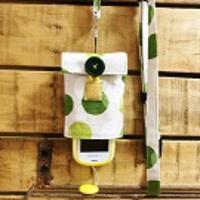 【Pulllu -ぷるる- 】シンプルタイプ #水玉(緑)×ストライプ【綿麻】