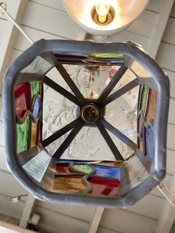 英国アンティーク照明 ステンドグラス ランプシェード
